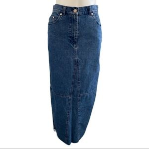 Lauren Jeans Co. Denim Frayed Hem Maxi Skirt 6